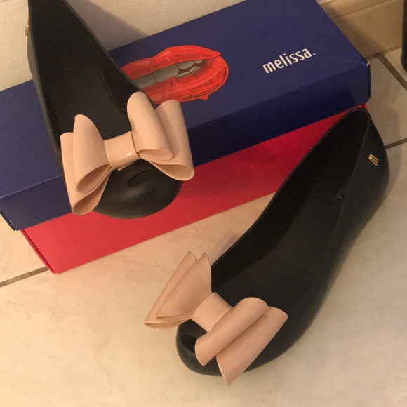 67b585a82ff Melissa Shoes | Scented Black With Pink Bows | Poshmark